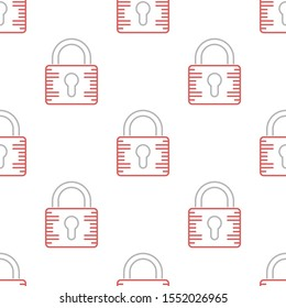 Security padlock seamless pattern design, Repeat textile design. Fabric print.