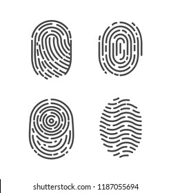 Security and prints of fingers to pass access. Identification fingerprints sketches set icons vector. System of bio recognition, identifying methods