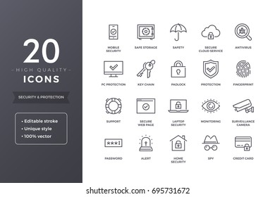 Security and protection line icons. Cyber web safety and privacy icon set with editable stroke
