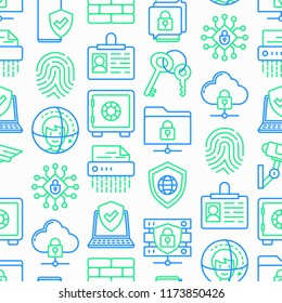 Security and protection seamless pattern with thin line icons: mobile security, fingerprint, badge, firewall, face ID, secure folder, shredder, bank safe, encrypted messaging. Vector illustration.
