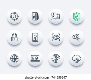 Security and protection, secure browsing, cybersecurity line icons