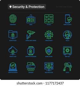 Security and protection thin line icons set: mobile security, fingerprint, firewall, face ID, secure folder, surveillance camera, shredder, bank safe, encrypted messaging. Modern vector illustration.