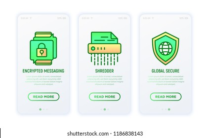 Security and protection thin line icons set: shredder, encrypted messaging, global secure. Vector illustration.