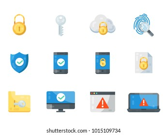 Security and protection web icon vector set. Modern flat  cyber icons collection isolated on white background