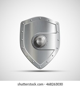 Security reliability, and insurance against bankruptcy. Isolated on white background. Icon metal safe in the form of a shield. Bank deposit. Stock vector illustration.