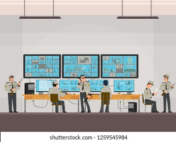 security room in which working professionals. surveillance cameras. CCTV or surveillance system concept. guards work in security room. Vector illustration in a flat style.