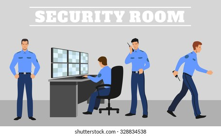 Security room and working guards.  Work and service system, technology control safety. Vector concept illustration
