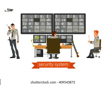 security room in with working professionals. security cameras. Vector.