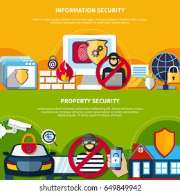 Security and safety horizontal banners set with information and property security symbols flat isolated vector illustration