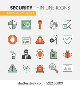 Security and Safety Thin Line Vector Icons Set with Shield, Safe