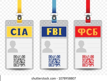 Security Service vertical badge empty template with blue yellow and red title QR code and lanyard on transparent background. Identification agent FBI CIA FSB id card mockup set
