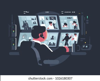 Security service worker watching surveillance cameras on screens. Vector illustration