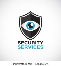 Security services vector logo. Shield with eye logo template. Security watching logo.