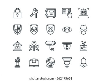 Security. Set of outline vector icons. Contains such Icons as Finger Print, Electronic key, Spy, Password, Alarm and more.