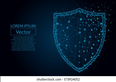 Security Shield composed of polygons. Business concept of data protection. Low poly vector illustration of a starry sky or Cosmos. The shield consists of lines, dots and shapes