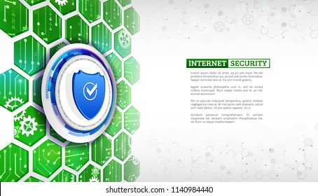 Security shield and data protection technology background. System privacy.  Abstract isometric concept with internet shield.