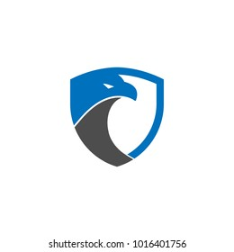 Security shield eagle logo design template vector