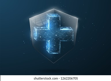 Security Shield form lines, triangles and particle style design. Illustration vector