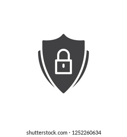 Security shield with lock vector icon. filled flat sign for mobile concept and web design. Padlock shield security simple solid icon. Symbol, logo illustration. Pixel perfect vector graphics
