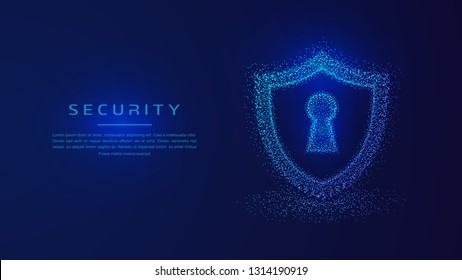 Security Shield protection, Protected guard shield security concept. Shield guard safety system background. Cyber security concept illustration with dots combination.