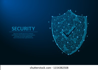 Security shield. Safety concept made by points and lines, polygonal wireframe mesh on night sky, dark blue background. Vector illustration.
