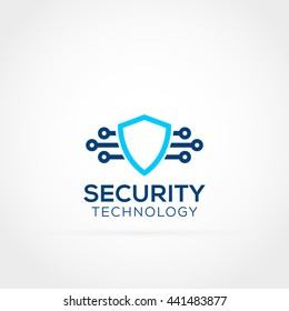 Security shield and technology logo icon