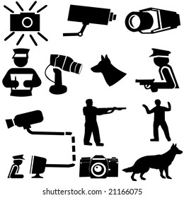 security silhouettes guard dogs, cctv camera, and armed guard illustration
