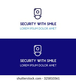 Security with smile blue corporate logo design key lock