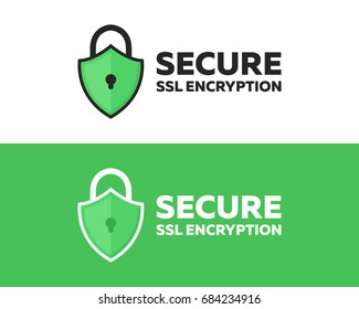 Security SSL Icon with a Green Shield Icon for Encrypted Websites