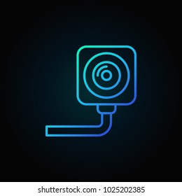 Security surveillance camera outline blue icon. Vector CCTV concept line sign on dark background