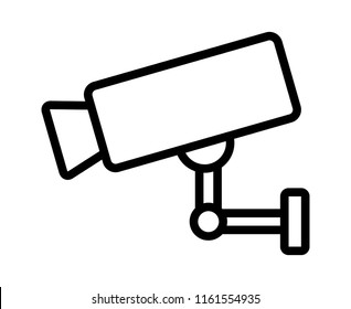 Security surveillance video camera or closed circuit television / CCTV line art vector icon for apps and websites