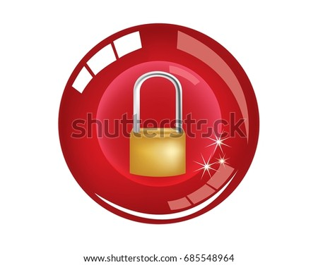 security symbol button locking computers cash stock vector royalty