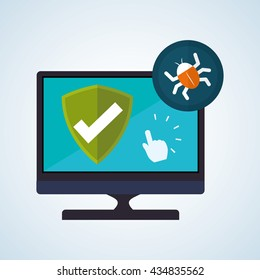 Security System design. Protection icon. Isolated illustration, vector