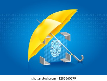 Security system fingerprint protected by a yellow umbrella on the background of binary code.