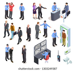 SECURITY SYSTEM ISOMETRIC CONCEPT. Secure police officer checkpoint access equipment, personal guard, criminal identity. 3d vector set
