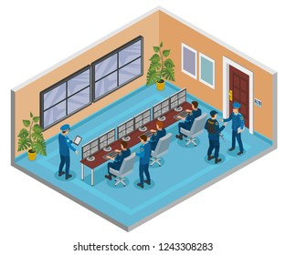 Security systems isometric composition with cctv surveillance cameras monitoring and responding operators officers room interior vector illustration