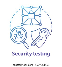 Security testing concept icon. Safety audit. Key reliability and antivirus defence. Intrusion data protection idea thin line illustration. Vector isolated outline drawing