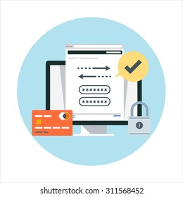 Security and transactions flat style, colorful, vector icon for info graphics, websites, mobile and print media.