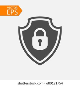 Security vector icon illustration isolated on grey background. Shield sign. Lock symbol. Flat style for graphic design, logo, Web site, social media, UI, mobile app, EPS10