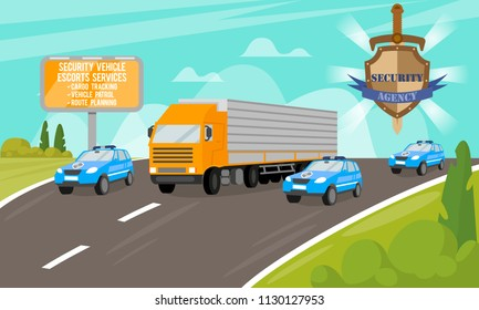 Security Vehicle Escort Services. Safety and Security Company. Work of Security Agency. Services for Security of Objects. Escort Cars on Road. Ensuring the Safety of movement. Vector Illustration.