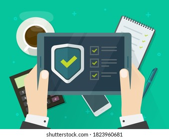 Security verification check list digital test on tablet computer software guard online vector, internet virus attack web protection, secure safety guard technology, person fraud spy checklist scan