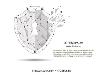 Security Violation - Infographical Concept. Graphic design on the theme of Cyber-Security Technology. from low poly wireframe on white background. abstract polygonal image mash line and point.vector