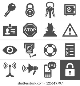Security and warning icons. Simplus series. Vector Illustration