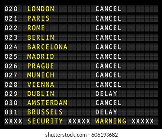security warning on airport information display, canceled flights, vector