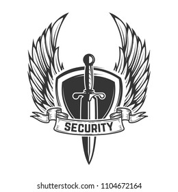 Security. Winged shield with sword. Design element for emblem, sign, logo, label. Vector image