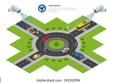 Security-camera detects the movement of traffic. CCTV security camera on isometric illustration of traffic-jam with rush hour.