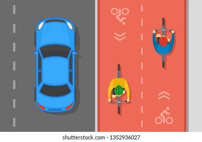 Sedan car and cyclists on bike lane. Asphalt city road top view. Flat vector illustration.