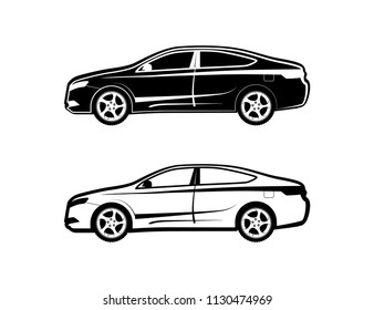 Sedan car Icon set from the side view in black and white. Vector Illustration in EPS 10.