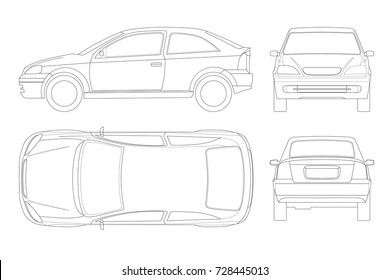 Sedan Car in lines. Isolated car, template for car branding and advertising. Front, rear , side, top and back. All elements in groups on separate layers.