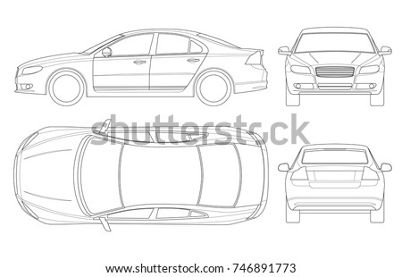 Car Template | Sedan Car Outline Business Sedan Vehicle Stock Vektorgrafik